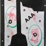 Prova d'autore, 06/01/2017,disegno eseguito con penna nera e nero acrilico su carta politenata (carta per alimenti usata in macelleria) successivamente plastificata,Pasquale Mastrogiacomo, Acerno(SA).