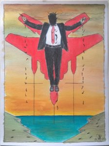 Crocifissione di un colletto bianco (Crucifixion of a white collar),2017 disegno con matite acquerellabili e matite colorate (drawing with watercolor pencils and colored pencils), cm 30×40, Pasquale Mastrogiacomo, Acerno (SA).