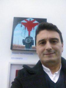 """Con la mia opera ,Default, all'inaugurazione della Collettiva d'arte contemporanea """"AFTER"""" 09/03/2018 ,Palazzo Arcivescovile, Salone degli Stemmi, Salerno. Pasquale Mastrogiacomo, Acerno (SA)."""