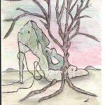 Vestigia (Vestiges),2018 cm 9x14, acquerello (Watercolor), Pasquale Mastrogiacomo, Acerno(SA