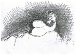 Schizzando di getto i grandi maestri del disegno, 2018 disegno a matita su foglio cm 29,5x21, Pasquale Mastrogiacomo, Acerno (SA).