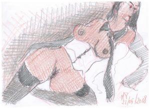 Schizzando di getto una donna immaginaria, 2018 disegno a matita su foglio cm 29,5x21, Pasquale Mastrogiacomo, Acerno (SA).