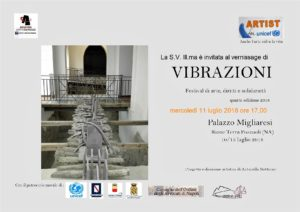 """Invito per la mostra """"Vibrazioni"""" 2018, IV edizione,Pasquale Mastrogiacomo"""