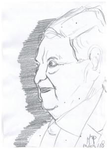 Schizzando di getto il ritratto di un Finanziere, 2018 disegno a matita su foglio cm 29,5x21, Pasquale Mastrogiacomo, Acerno (SA).