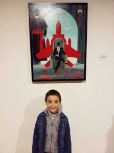 Foto ricordo-Pio Giuseppe alla Terza Biennale D'Arte Contemporanea Di Salerno 2018, con la mia opera: Intellighenzia ambivalente, 2018 olio su tela, cm 60x80, Pasquale Mastrogiacomo