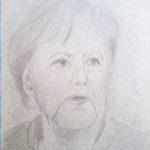 Ritratto di Angela Merkel, 2018 cm 24x34,disegno con MINA D'ARGENTO PURO 1000/1000 su carta preparata opportunamente, Pasquale Mastrogiacomo,Acerno(SA).