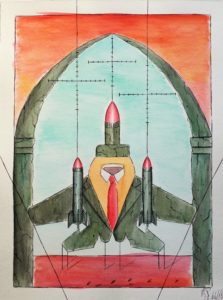 Bersaglio mobile (Moving target), 2018 disegno a penna e  acquerello (pen and watercolor drawing), cm 24x32,Pasquale Mastrogiacomo,Acerno(SA).