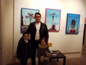 Foto ricordo con Pio, Maria e Anna Spiezia alla VIII Expo d'arte contemporanea e poesia AVALON IN ARTE, 2019