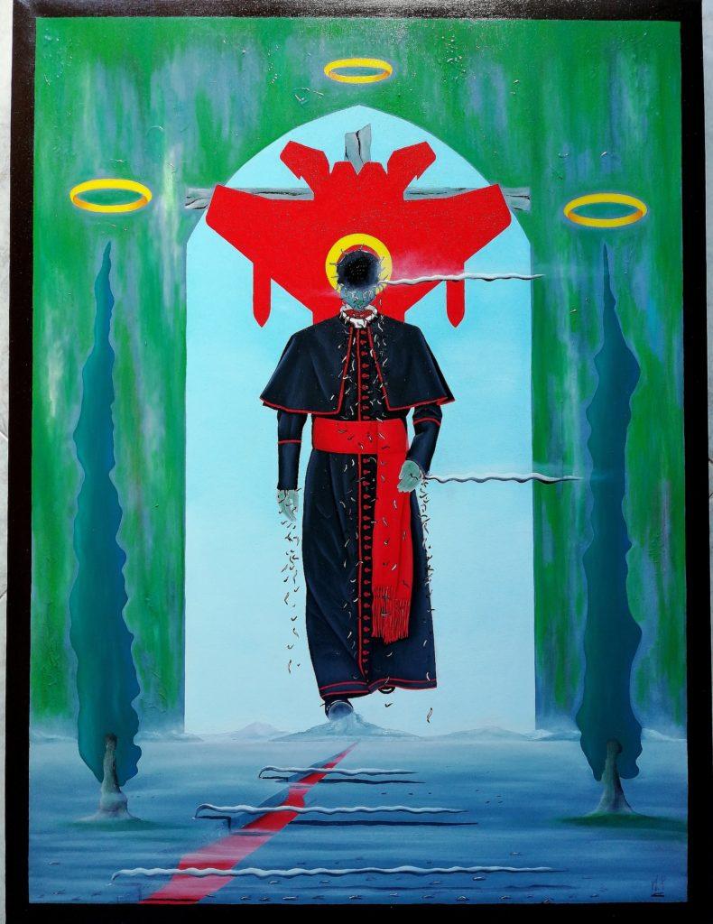 In cammino verso il futuro(On the way to the future), 2018 olio su tela(oil painting on canvas) cm 60x80,Pasquale Mastrogiacomo, Acerno (SA).