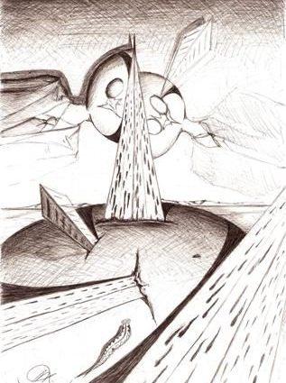 Dualismo per un bene materiale, 12/12/2006 disegno a penna su foglio cm 21x29,Pasquale Mastrogiacomo.