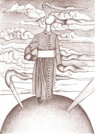 Passeggiata sul mondo con Fumi divini, 03/01/2008 disegno a penna su foglio A4 cm 26x29,6,Pasquale Mastrogiacomo.