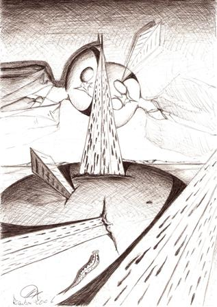 Dualismo per un bene materiale, 12/12/2006 disegno a penna su foglio A4 cm 21x29, Pasquale Mastrogiacomo.
