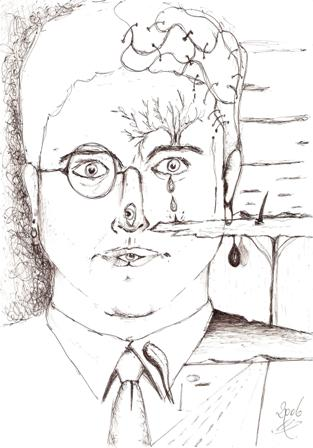 Autoritratto di un folle surreale, disegno a penna nera PILOT su foglio A4 2006, Pasquale Mastrogiacomo.
