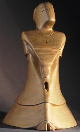 La prostituzione di un vescovo, 1997 terracotta patinata, h cm 29, Pasquale Mastrogiacomo, Acerno (SA).