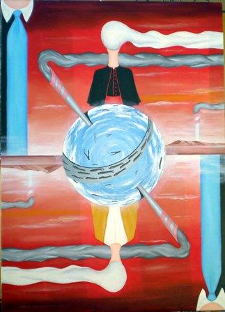 Dualismo(Dualism), 2008 olio su tela cm 50x70, Pasquale Mastrogiacomo.