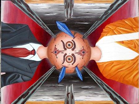 Contrapposizione di visioni, 2008 olio su tela cm 60x80, Pasquale Mastrogiacomo Acerno(SA).