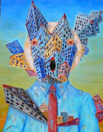 Personificazione di una città, 2008 olio su tela cm 70x90,Pasquale Mastrogiacomo(SA).
