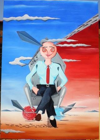Sullo scranno seduto con le sanguisughe, in bilico con l'ambiguità di un illusionista, 2009 olio su tela cm70x90, Pasquale Mastrogiacomo, Acerno(SA).