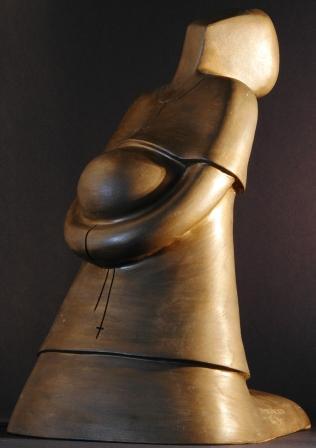 Donazione 1994 terracotta patinata h 35 cm, Pasquale Mastrogiacomo, Acerno(SA).