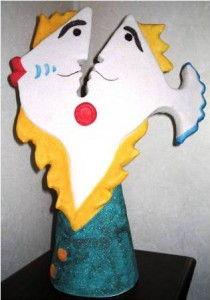 Conversazione (conversation), 2004 scultura (sculpture), ceramica artistica (ceramic art), h cm 46, Pasquale Mastrogiacomo, Acerno (SA).