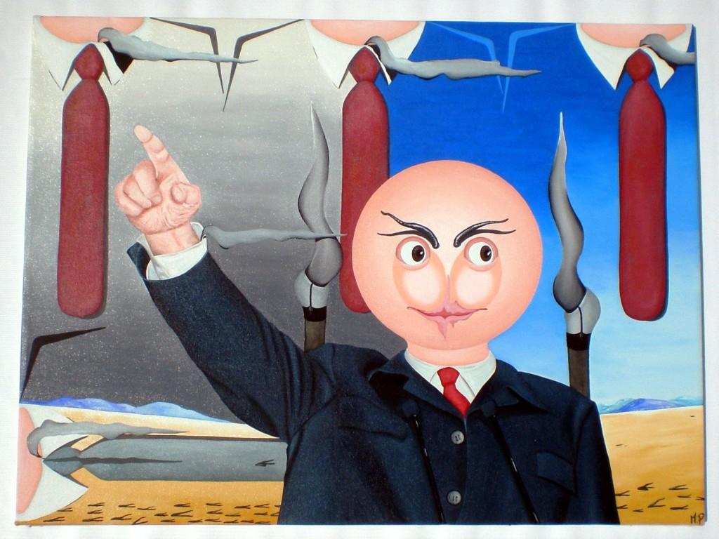 Caduta delle ideologie, 2010 olio su tela cm 6ox80, Pasquale Mastrogiacomo.