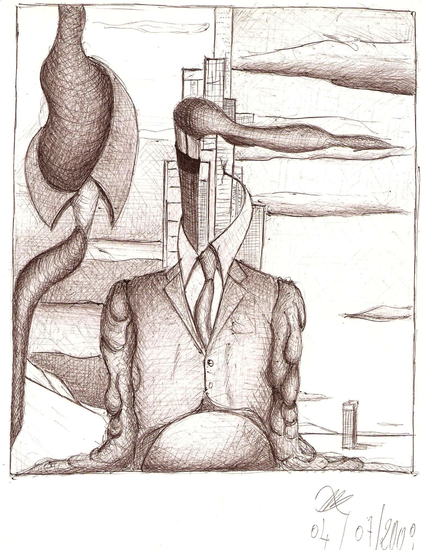 Disegno a penna, Mezzobusto di un rappresentante, 2010, Pasquale Mastrogiacomo, Acerno(SA).