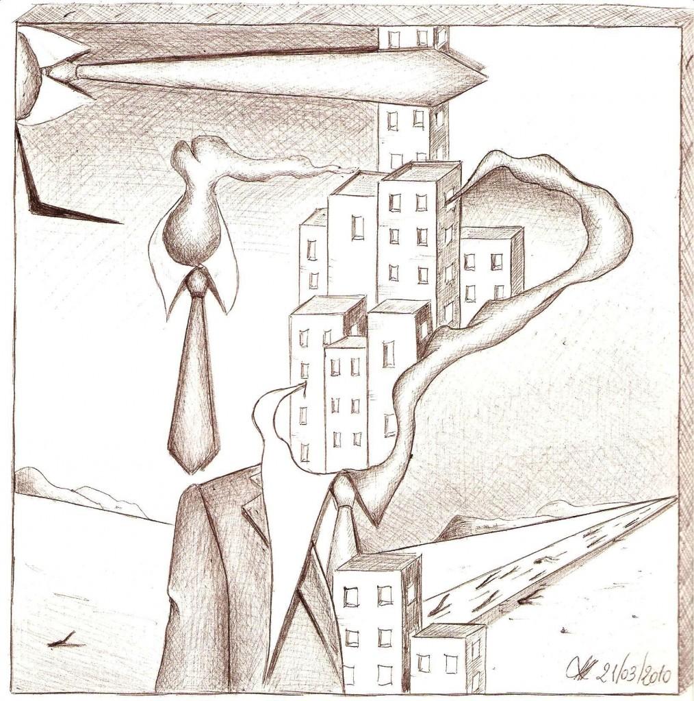 Disegno a penna, Mezzobusto con paesaggio, 2010-Pasquale Mastrogiacomo, Acerno(SA).