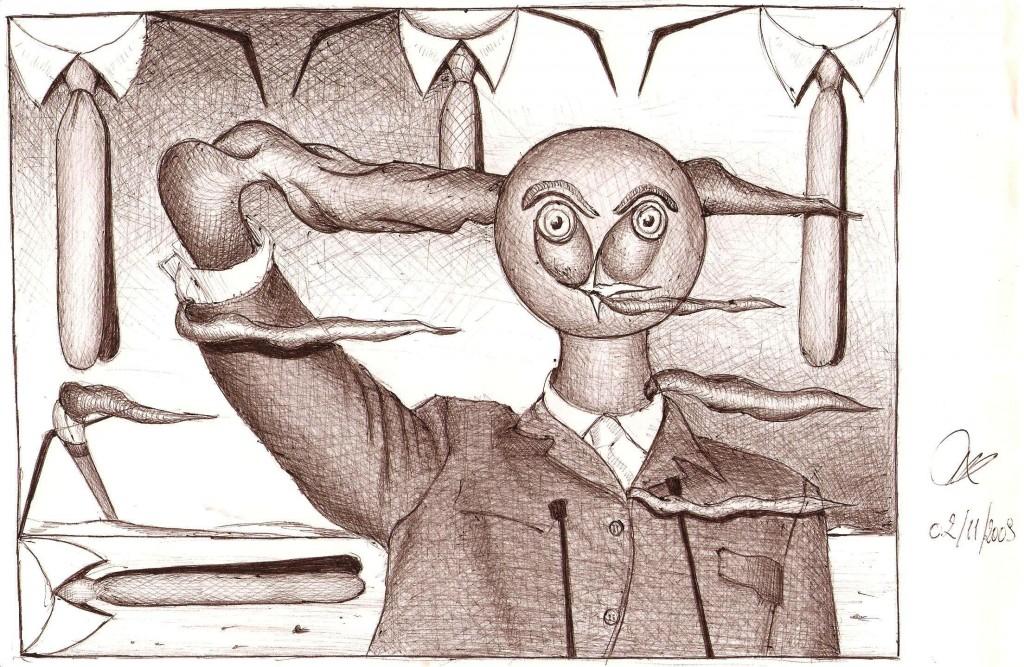 Caduta delle ideologie, 2010  disegno a penna ,Pasquale Mastrogiacomo, Acerno(SA).
