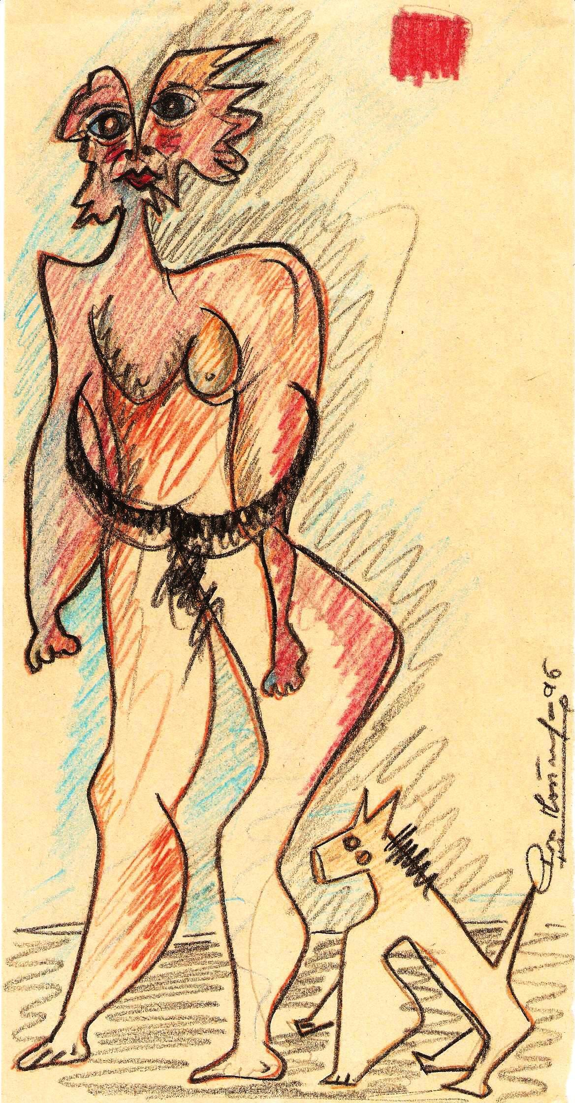 Disegno,1996 pastello su carta, Pio Mastrogiacomo Acerno (SA)