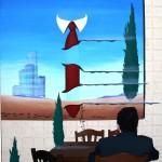 A tavola con le sanguisughe(A table with leeches), 2012 olio su tela cm60x80, Pasquale Mastrogiacomo Acerno(SA)