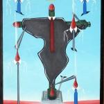Crocifissione di un continente (Crucifixion of a continent), 2015 dipinto olio su tela (painting oil on canvas) cm 35x50, Pasquale Mastrogiacomo, Acerno (SA).
