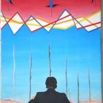 """Direttore di swap, spread e """"fumi"""" tossici, 2012 olio su tela cm35x50, Pasquale Mastrogiacomo, Acerno(SA)"""