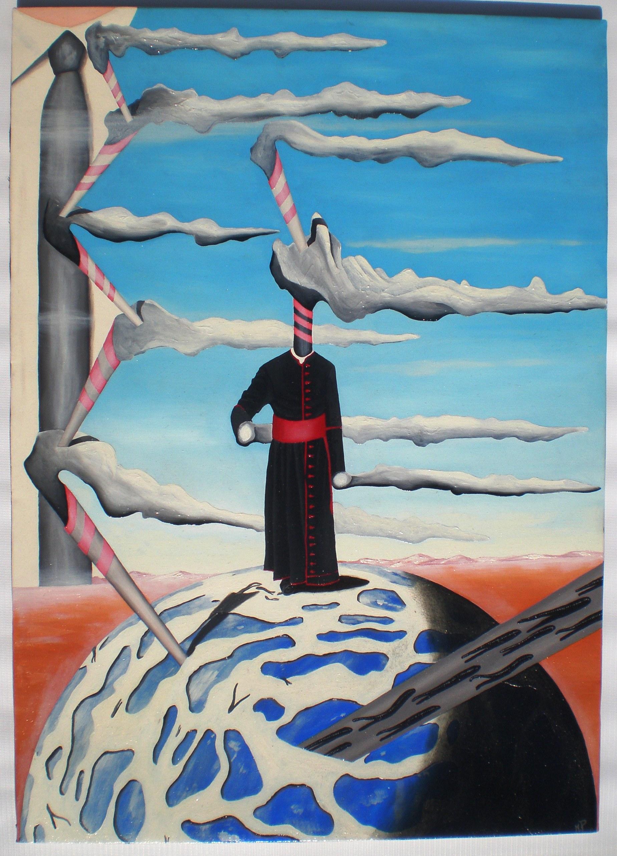 Passeggiata sul mondo con fumi divini, 2009 olio su tela cm 60x70, Pasquale Mastrogiacomo, Acerno (SA).