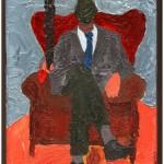 Storico che contempla il presente (Historical contemplating this), 2015 dipinto olio su tela (oil on canvas), cm 20x30, Pasquale Mastrogiacomo, Acerno (SA).