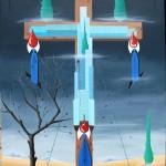 Crocifissione di grattanuvole(Crucifixion of Scraper), 2012 olio su tela cm 60x80, Pasquale Mastrogiacomo Acerno(SA)