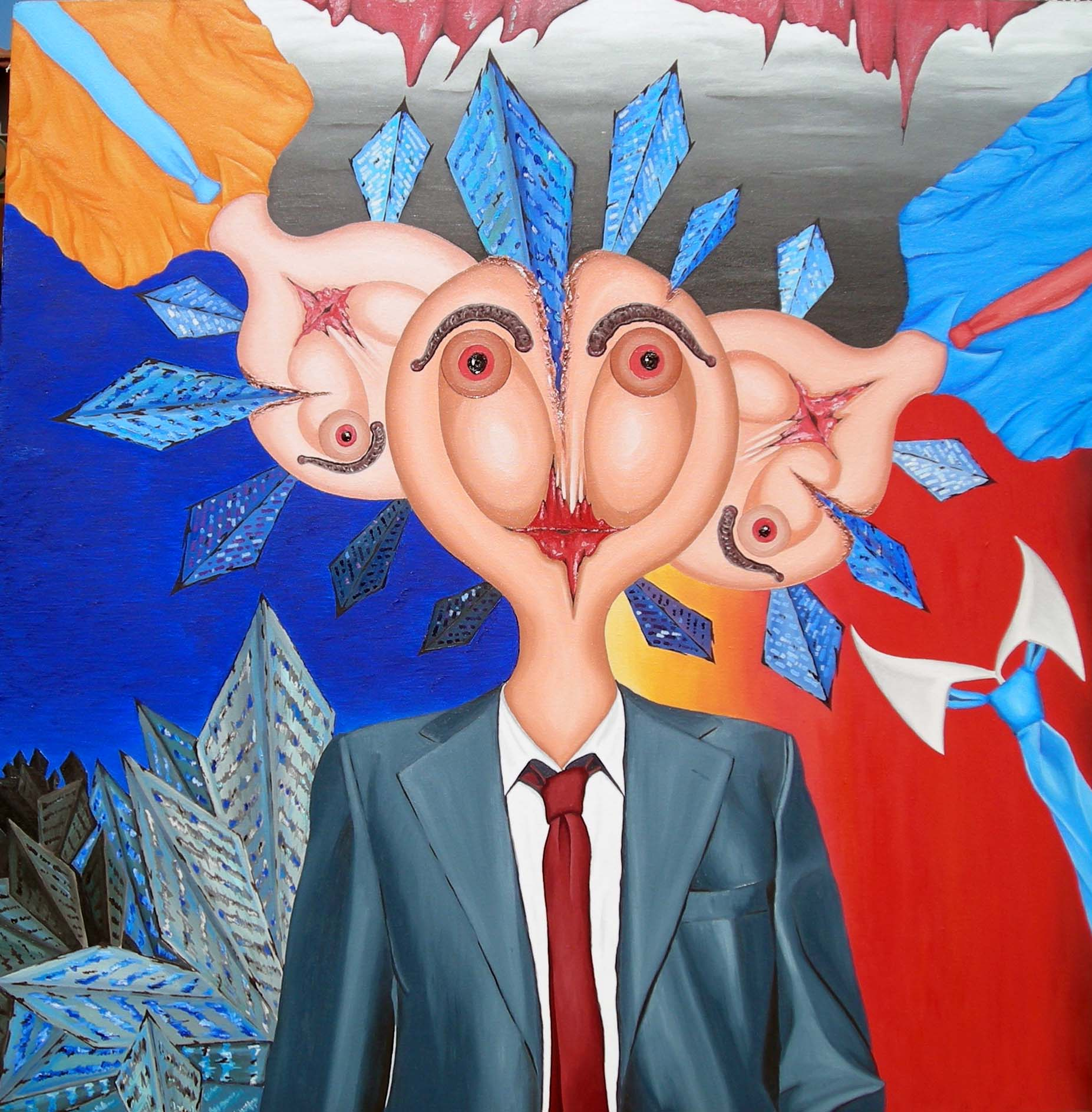 I tre rappresentanti, 2007 olio su tela, cm 100x100, Pasquale Mastrogiacomo.