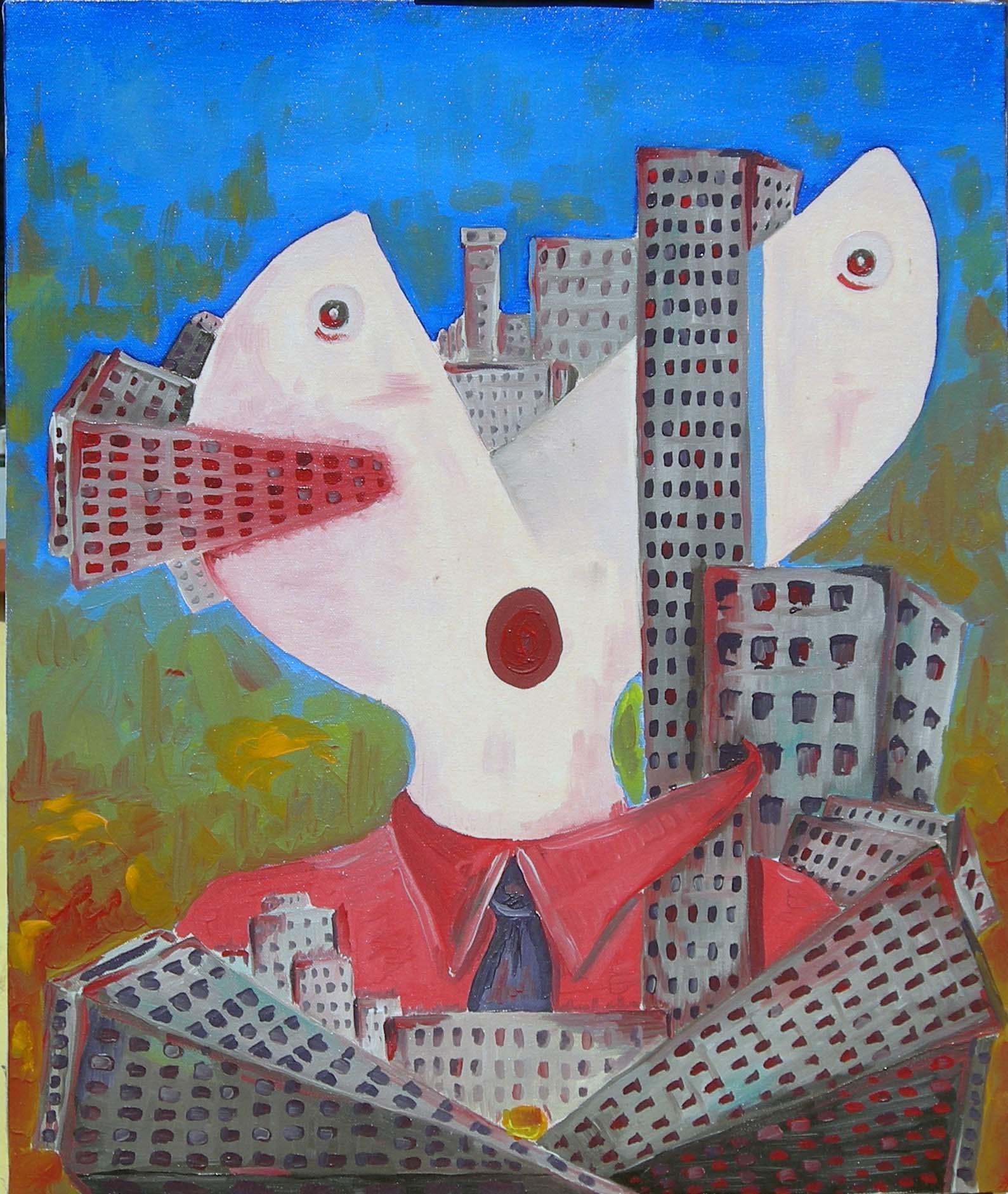 Città mortifera, 2007 olio su tela 50x60, Pasquale Mastrogiacomo.