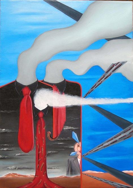 Tutto fumante, 2008 olio su tela cm 50x70, Pasquale Mastrogiacomo.