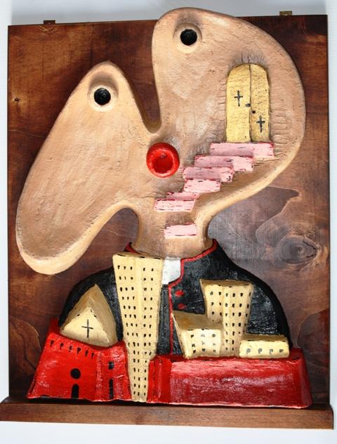 Bassorilievo, 2004 semirefrattario colorato, Pasquale Mastrogiacomo
