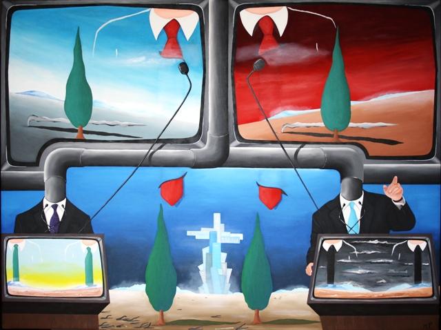 Videoconferenza sullo stato di salute del mondo, 2012 olio su tela cm 60x80, Pasquale Mastrogiacomo, Acerno (SA)