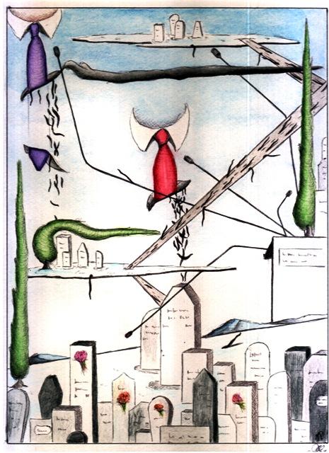 Disegno a penna e acquerello, 23/07/2012, Pasquale Mastrogiacomo, Acerno
