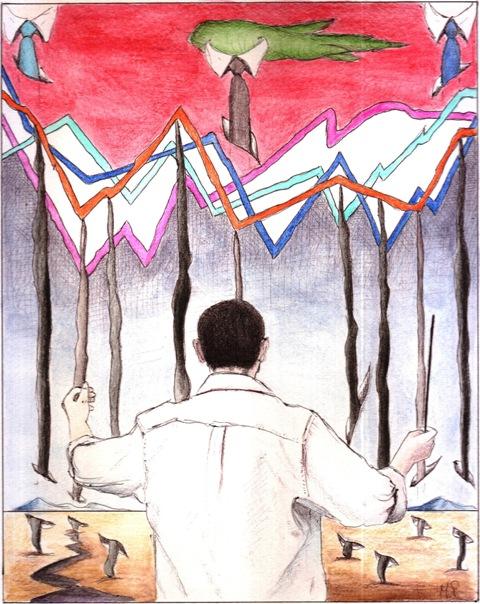 Direttore d'orchestra, 29/07/12 disegno a penna e acquerello-Pasquale Mastrogiacomo,Acerno (SA)
