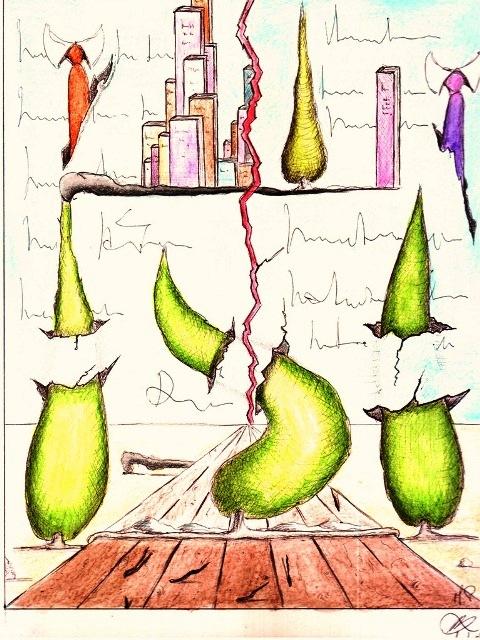 Vanità di tre cipressi, 01/08/2012, disegno a penna e acquerello, Pasquale Mastrogiacomo, Acerno(SA)