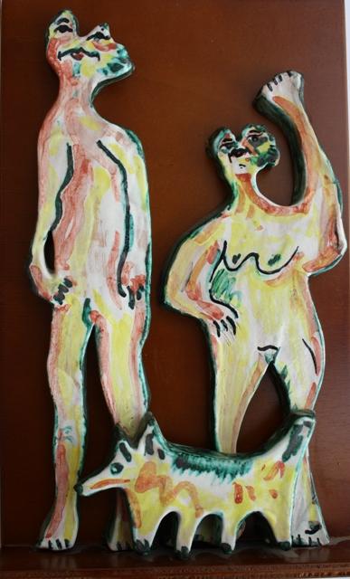 Giovane coppia con cane, 1997 ceramica artistica, Pio Mastrogiacomo, Acerno (SA)