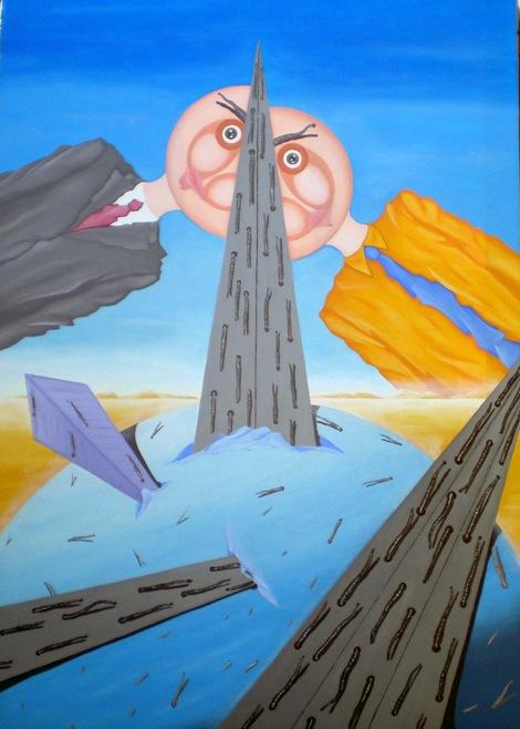 Contrapposizione inframezzata da una strada, 2008 olio su tela cm 50x70, Pasquale Mastrogiacomo.