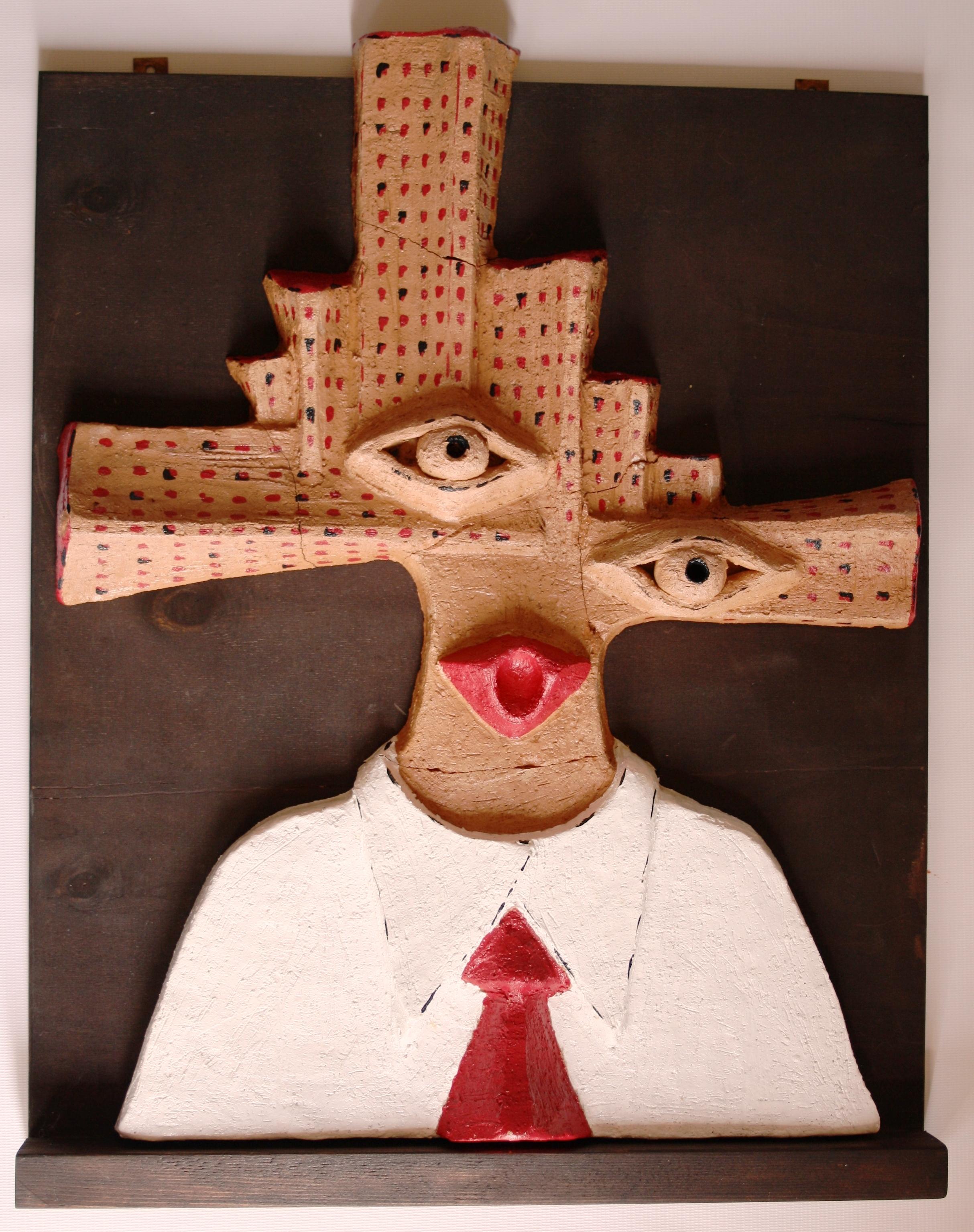 Gli occhi invisibili della città, 2004 semirefrattario colorato, Pasquale Mastrogiacomo, Acerno