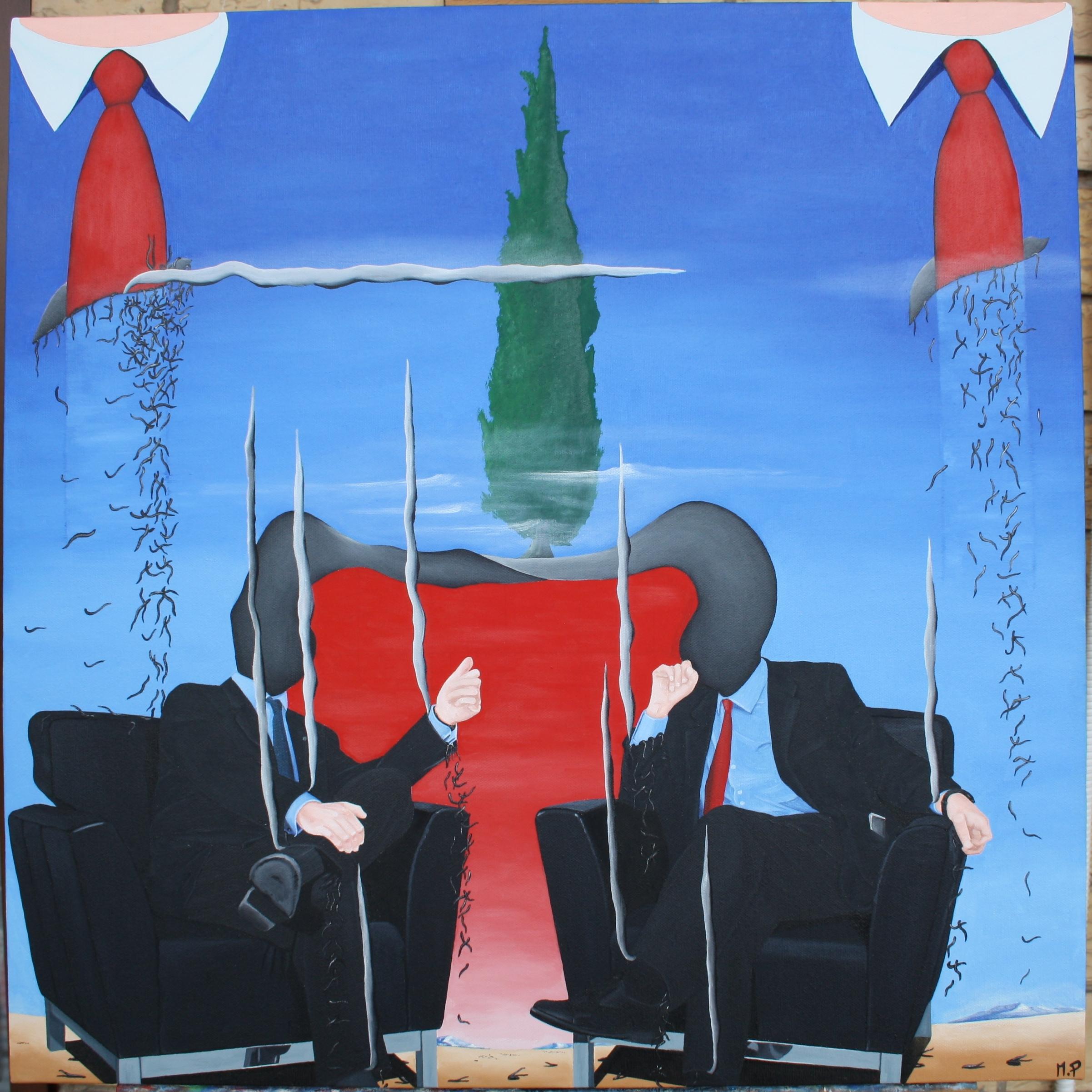 Incontro dei grandi con le rispettive delegazioni, 2012 olio su tela cm 60x60 Pasquale Mastrogiacomo, Acerno (SA)