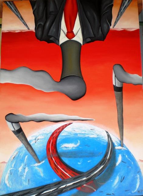 Seduzione del progresso, 2009 olio su tela cm 50x70, Pasquale Mastrogiacomo, Acerno(SA).