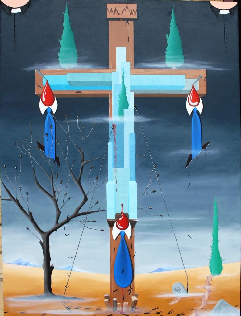 Crocifissione di grattanuvole, 2012 olio su tela Pasquale Mastrogiacomo, Acerno (SA)