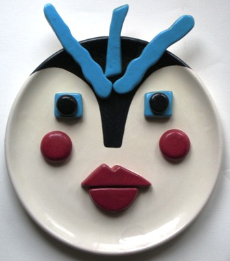 Volto di donna collage,1992 ceramica artistica contemporanea,Pio Mastrogiacomo, Acerno (SA)